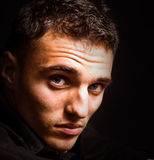 Ritratto artistico dell'uomo con i bei occhi Immagini Stock Libere da Diritti