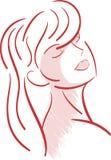 Ritratto artistico stilizzato della donna isolato illustrazione di stock