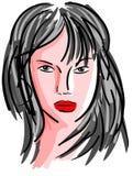 Ritratto artistico stilizzato della donna isolato Fotografia Stock