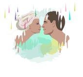 Ritratto astratto dell'acquerello delle coppie nell'amore, nelle illustrazioni variopinte uomo ed in donna Fotografia Stock Libera da Diritti