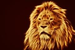 Ritratto astratto e artistico del leone Il fuoco fiammeggia la pelliccia Fotografia Stock Libera da Diritti