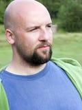 Ritratto barbuto calvo dell'uomo Fotografia Stock