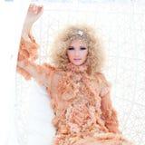 Ritratto barrocco della donna di alte mode di haute Immagine Stock Libera da Diritti