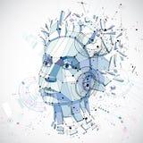 ritratto basso di una donna astuta, metafora umana di vettore 3d poli di pensieri illustrazione vettoriale