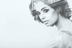 Ritratto in bianco e nero creativo immagini stock