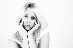 Ritratto in bianco e nero delle ragazze bionde Fotografia Stock Libera da Diritti