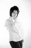Ritratto in bianco e nero luminoso. Fotografia Stock