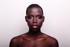 Ritratto britannico americano del modello di moda dell'africano nero Immagine Stock