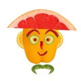 Ritratto in cappello fatto delle verdure e della frutta Fotografia Stock