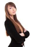 Ritratto casuale della donna di affari - armi attraversate immagine stock libera da diritti