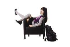 Ritratto cinese della ragazza del banco Fotografie Stock Libere da Diritti