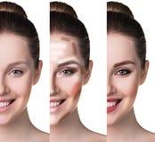 Ritratto comparativo del fronte femminile fotografia stock