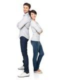 Ritratto completo delle coppie felici isolate su bianco Fotografia Stock Libera da Diritti