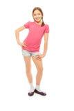 Ritratto completo di altezza della ragazza piacevole e felice Fotografia Stock Libera da Diritti