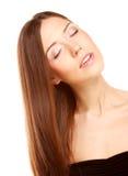 Ritratto con bei capelli lunghi marroni luminosi Fotografia Stock