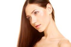 Ritratto con bei capelli lunghi marroni luminosi Immagini Stock Libere da Diritti