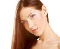 Ritratto con bei capelli lunghi marroni luminosi Immagini Stock