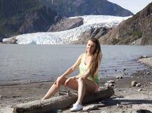 Ritratto con il ghiacciaio immagine stock
