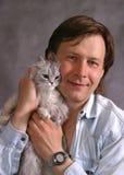 Ritratto con un gatto Fotografia Stock Libera da Diritti