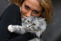 Ritratto con un gatto Fotografia Stock