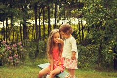 Ritratto d'annata delle bambine sveglie divertendosi al giorno di estate Fotografia Stock