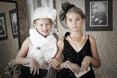 Ritratto d'annata di stile dei bambini fotografia stock