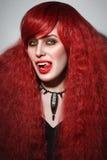 Ritratto d'annata di stile di giovane bella donna della testarossa con ottenuto Fotografia Stock