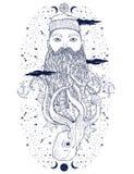 Ritratto d'annata disegnato a mano della barba del marinaio dei pantaloni a vita bassa Marinaio anziano di tatoo L'uomo è un'arte illustrazione vettoriale
