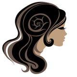 Ritratto decorativo della donna con capelli lunghi Immagini Stock Libere da Diritti