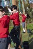Ritratto degli allievi della scuola elementare su attrezzatura rampicante Fotografie Stock