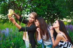 Ritratto degli amici sorridenti felici sul fine settimana all'aperto Tre bei giovani migliori amici felici divertendosi, sorriden Fotografia Stock
