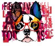 Ritratto degli occhiali da sole d'uso del bulldog francese illustrazione vettoriale