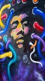 Ritratto dei graffiti di Jimi Hendrix a Melbourne Australia fotografia stock libera da diritti