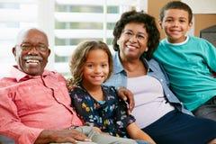 Ritratto dei nonni con i nipoti Fotografia Stock Libera da Diritti