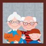 Ritratto dei nonni con il loro nipote Fotografia Stock Libera da Diritti