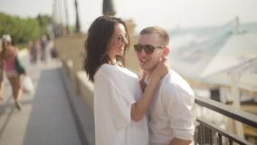 Ritratto dei turisti positivi felici in occhiali da sole che abbracciano e che sorridono tenero Concetto di vacanza archivi video