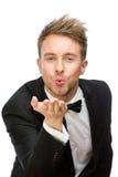 Ritratto del bacio di salto dell'uomo di affari Immagini Stock Libere da Diritti