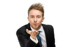 Ritratto del bacio di salto esecutivo Immagine Stock