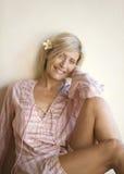 Ritratto del Bali 1 della donna con il piccolo fiore Fotografie Stock Libere da Diritti