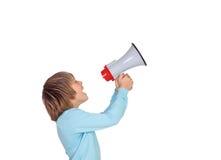 Ritratto del bambino adorabile con un megafono Immagine Stock