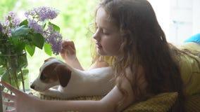 Ritratto del bambino che abbraccia il suo amico del cucciolo sui fiori del windowwith in suoi capelli archivi video