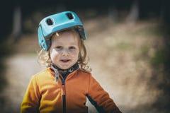 Ritratto del bambino con il casco Fotografia Stock Libera da Diritti