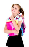 Ritratto del bambino di sogno di pensiero della ragazza della scuola con lo zaino Immagini Stock