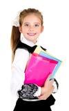 Ritratto del bambino felice sorridente della ragazza della scuola con i libri Immagini Stock