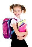 Ritratto del bambino felice sorridente della ragazza della scuola con lo zaino Immagine Stock