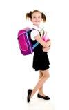 Ritratto del bambino felice sorridente della ragazza della scuola con lo zaino Immagine Stock Libera da Diritti