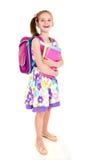 Ritratto del bambino felice sorridente della ragazza della scuola con lo zaino Fotografie Stock