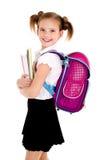 Ritratto del bambino felice sorridente della ragazza della scuola con lo zaino Fotografia Stock