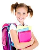 Ritratto del bambino felice sorridente della ragazza della scuola con lo zaino Immagini Stock