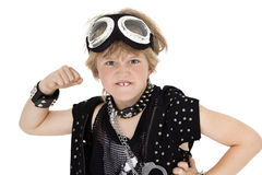 Ritratto del bambino punk che mostra pugno sopra fondo bianco Fotografia Stock